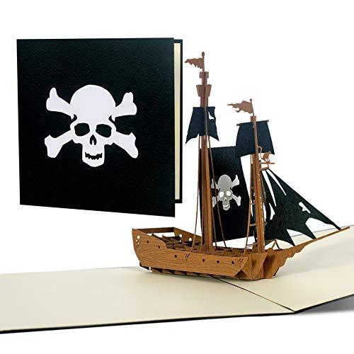 Pop Up Barco Pirata, tarjeta de invitación para un cumpleaños infantil, decoración pirata para el dormitorio pirata, piratas Giveaway, regalo o obsequios, cupones para un viaje Barco