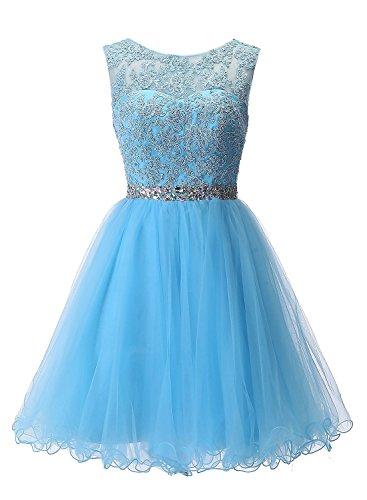 Carnivalprom Damen Abendkleider Für Hochzeit Elegant Spitze Brautjungfer Kleider Ballkleider(Blau...