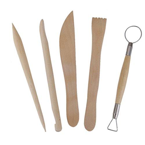 Hilai 5x Holz Keramik Ton Skulptur Carving Werkzeug Set -