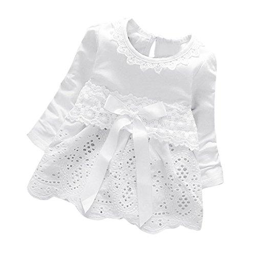Baby Mädchen Kleider Prinzessin Kleider Dresses Xinantime (0-6Monat, Weiß)