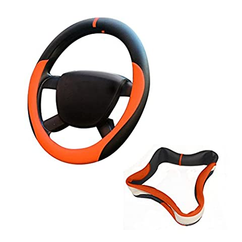 38 XFAY Professional Leather Steering Wheel Cover Universal 38cm – High Quality Flexible Non-toxic 3D Massage Pad (Black+Orange -38)