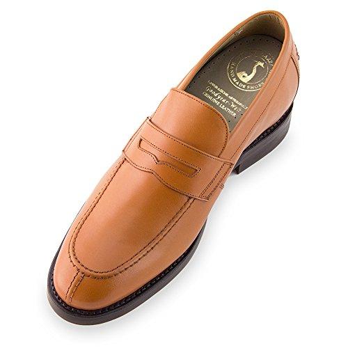 Masaltos Chaussures Réhaussantes Pour Homme avec Semelle Augmentant la Taille JusquÀ 7cm. Fabriquées en Peau. Modèle Stanford Marron