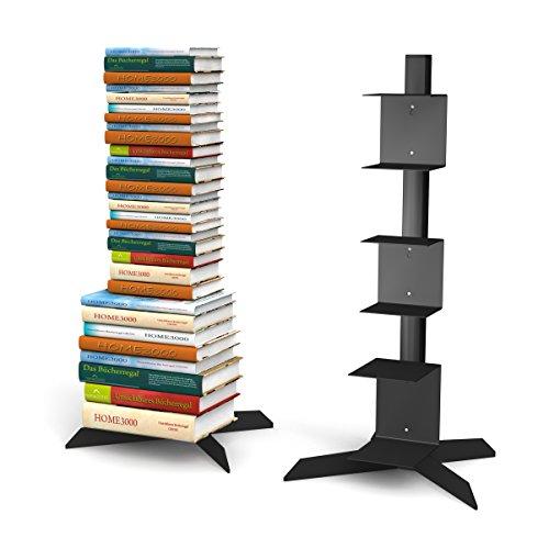 Freistehendes Bücherregal mit 2 kleinen und 1 grossen Regal in schwarz für ca. 115 cm Büchersäule