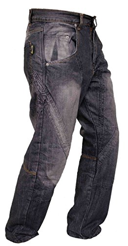 Newfacelook Schwarze Motorradhose Rüstungen motorrad Hose Jeans mit Aramid verstärkt Schutzauskleidung I112 New Black W38 L41 (Hose Motorrad Jeans)