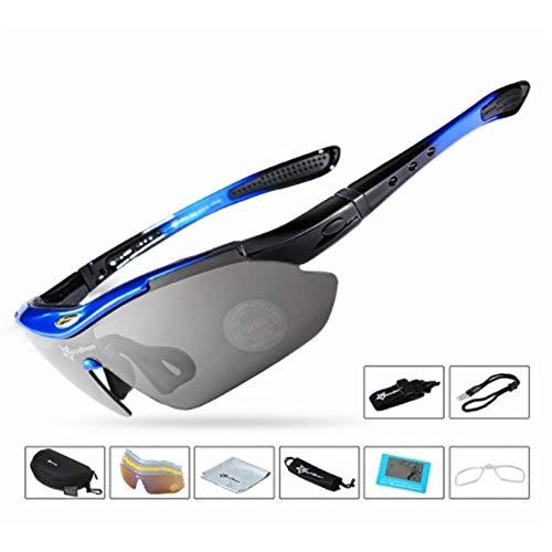 XIAOYUTOU Polarisierte Sport männer Sonnenbrille rennrad Brille Mountainbike Fahrrad Fahren schutzbrille Brillen 5 objektiv (Color : Medium Blue Glasses)
