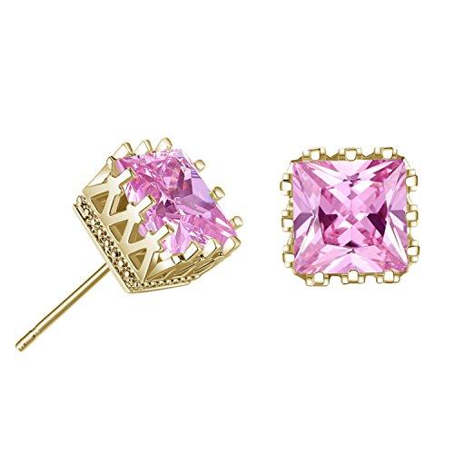 Yazilind Elegante JOYERIA Silber Esparragos quadratisch Ohrringe mit Zirconia cubicos berzogen Ninas Geschenk für Frauen in Gold-Pink