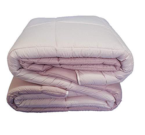 Euronovita' srl piumone trapunta letto singolo 1 piazza double face rosa/rosa antico copriletto trapuntato in microfibra 320 gr/mq, made in italy