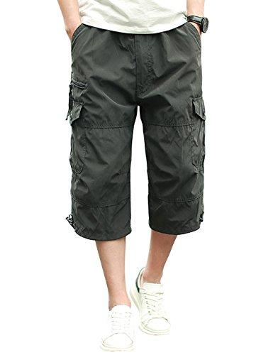 Homme Shorts Cargo Pantacourt Coton Multi Poches Loisirs 3/4 Short Casual Eté Gris M