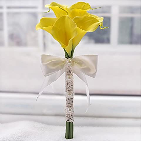 6pcs Calla Lily Bridal Wedding Bouquet cabeza de látex Real Touch flores ramos forma redonda flores