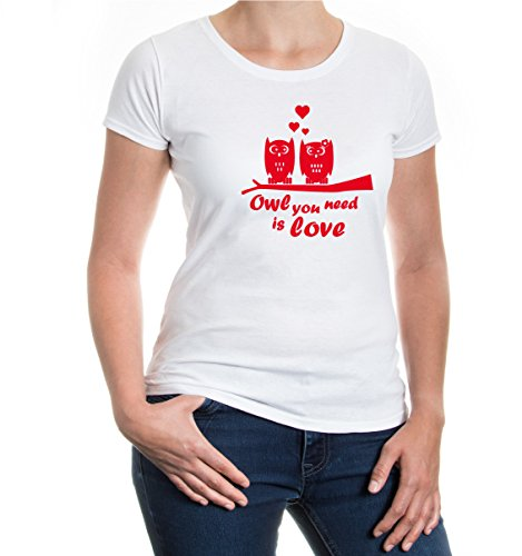 buXsbaum® Girlie T-Shirt owl you need is love White-Red