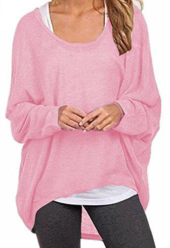 ZIOOER Damen Pulli Langarm T-Shirt Rundhals Ausschnitt Lose Bluse Hemd Pullover Oversize Sweatshirt Oberteil Tops Rosa S
