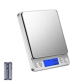 Bilancia da Cucina Digitale - 3kg x 0.1g Bilancia Pesapersone Professionale, Bilancia Elettronica Pesa Alimenti, Indicatore Batteria Scarica con LCD Display Retroilluminato