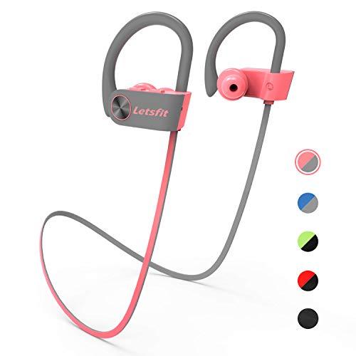 Letsfit Bluetooth Kopfhörer Kabellose Sportkopfhörer eingebaute HD-Mikrofon CVC 6.0 Stereo Sound IPX7 In Ear Kopfhörer Wasserdicht 8 Stunden Spielzeit für Sport und Fitness MEHRWEG