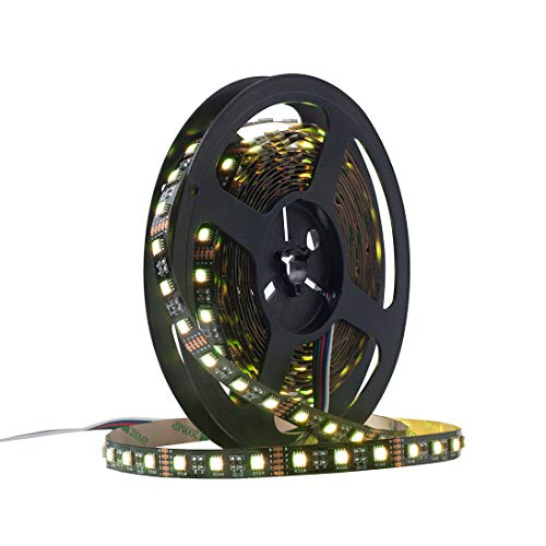 BTF-LIGHTING 5050 RGBW RGB + Blanco Cálido (2700K-3000K) 4 Colores en 1 LED 16.4ft 60 LEDs/m multicolor LED luces de Cinta IP30 No Impermeable Negro PCB LED DC12V
