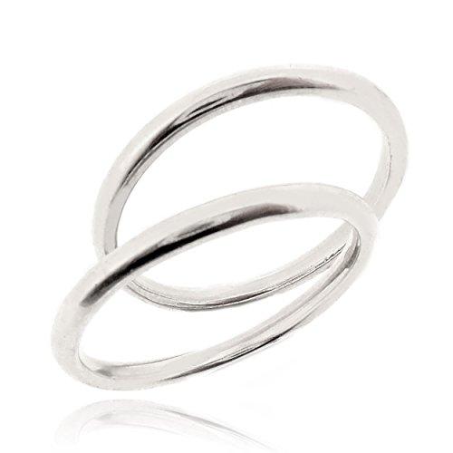 Sovats anello coppia fedine strette anello argento donna 925, misura 56