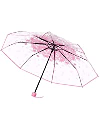The Purple Tree Transparent folding Umbrella (cherry blossom Pink) - 1 Pc , Rain Umbrella , transparent umbrella , 3 Fold umbrella , compact umbella , Pretty umbrella , folding umbrella , Fancy umbrella , stylish umbrella