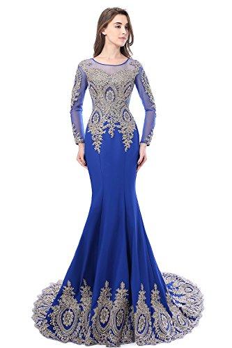 Misshow Damen Abendkleid Elegant Cocktailkleid Langarm mit Spitzen Royalblau