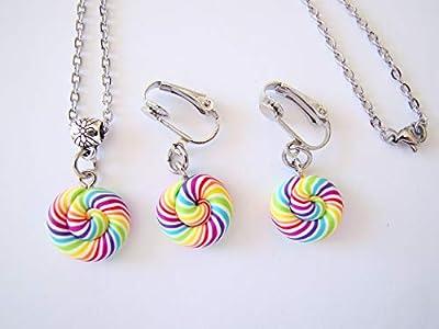 Coffret cadeau anniversaire collier et boucles d'oreilles clips enfants sucettes lollipops fimo acier inoxydable