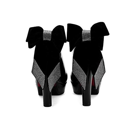 YE Damen Blockabsatz High Heels Plateau Lack Leder Pumps mit Schleife Rund Geschlossen Glitzer Elegant Party Schuhe Schwarz