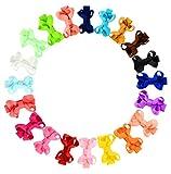 Boboder Kleine Haarspangen Grosgrain Ribbon Hair Bow Krokodilklemmen für Neugeborene Kleinkinder 20pcs