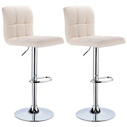 Woltu bh32cm-2 sgabelli da bar sedia cucina con schienale poggiapiedi tessuto di lino cromato altezza regolabile girevole moderno crema 2 pezzi