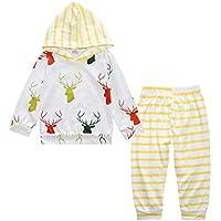 �� Zolimx Bebé Niñas Recién Nacido Mangas Largas de Oveja Chándales Imprimir Tops Sudaderas con Capucha + Pantalones de Rayas Niños Chicas Ropa Juegos (24Meses/ 100CM, Amarillo)