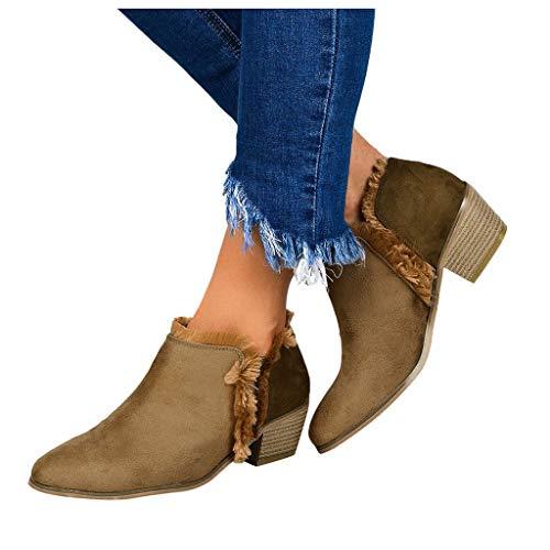 TianWlio Schuhe Damen High Heels Stiefel Frauen Stiefeletten Scrub Square Mit Einzelstiefeln Lässige Patchwork Arbeitsschuhe Khaki42