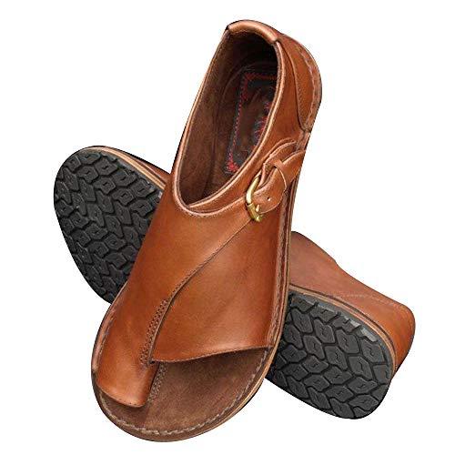 Sfit Damen Platform Sandals Sommer Bequeme Elegante Sandalen Big Toe Hallux Valgus Unterstützung Flach Back-Strap Roma Zehentrenner Hausschuhe Strand Reise Schuhe Toe-strap Sandal