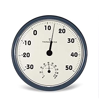 ZUZU Termómetro para Interiores y Exteriores, higrómetro Termo analógico 2 en 1 Pantalla Grande Estación meteorológica doméstica Termómetro Higrómetro Colgante de Pared, 12″Negro