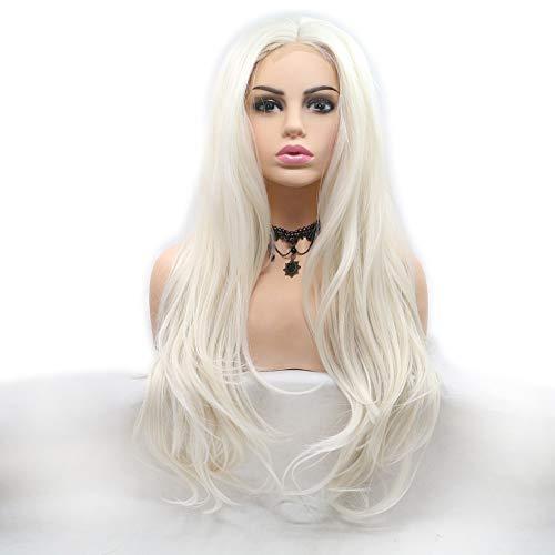 Lange Wellig Perücken Damen Voll Etwas lockig Menschliches Haar Perücke Natürliches Schauen Haarteil Hochsynthetisch Dichte Seidig Spitze Vorderseite Mode Hochzeit ()