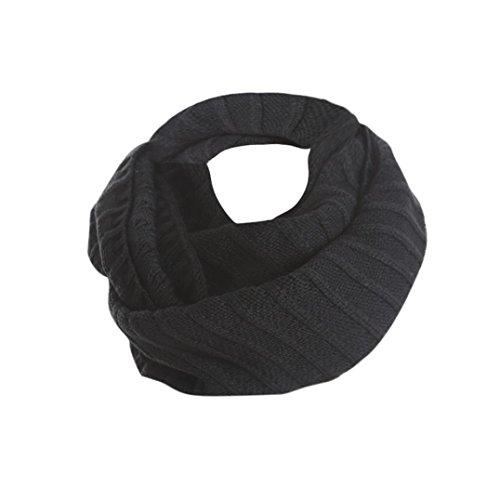 Wollschal Unisex ABsolute Damen Winter Warme Unendlichkeits Stricken Wasserfallausschnitt Langen Schal Knit Hals Kreis O-Ring Schal Deckenschal Halstuch (Schwarz)