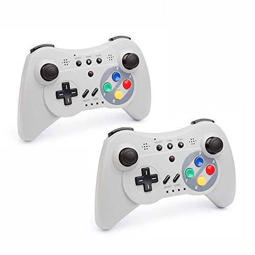 QUMOX 2 x Controlador Mando de Juego Portátil Gamepad inalámbrico de Bluetooth para la Consola de Nintendo Wii U, Gris
