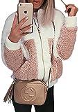 ECOWISH Damen Mantel Revers Faux Für Lose Langarm Outwear Tasche Reißverschluss Winterjacke Mode Kurz Coat Weiß XL