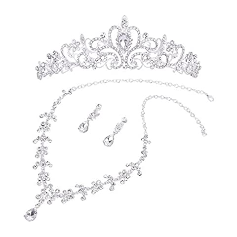WINOMO Strass Diademe Halskette Ohrringe Hochzeit Partei Schmuck