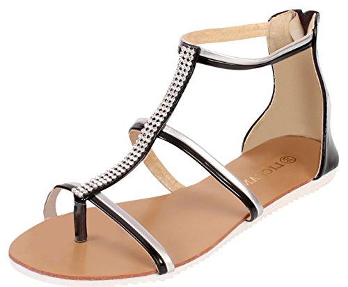 Sandales pour femme pour l'été avec pieds de poteau forme de chaussures plates Noir - noir