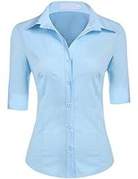 54dd77b1f92ff4 BeautyUU Damen 3/4 Ärmel Shirt Hemd Casual Bluse Einfarbig Oberteil  Hemdbluse Damenbluse Shirtbluse…