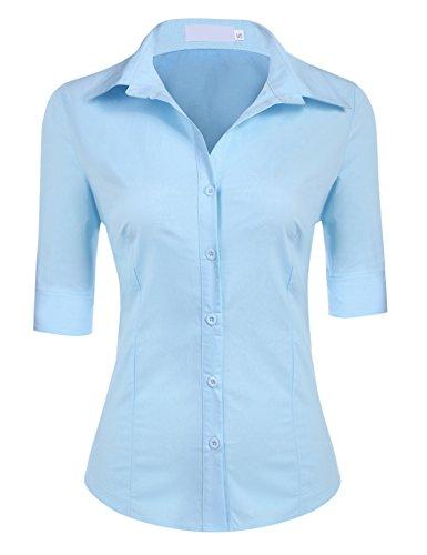 BeautyUU Damen 3/4 Ärmel Hemdbluse Damenbluse Slim Fit 10 Farben zur Auswahl S-XL Blau S