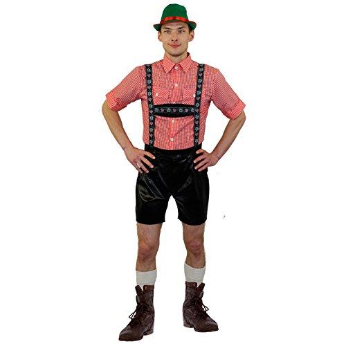 * * DELUXE * * Bayerischer Mann Kostüm + Grün Bayerische Hat mit Feder und rot Band perfekt für deutsche Oktoberfest Hirsch Nacht Oder jedes Fancy Kleid Party erhältlich in 5Größen-S, M, L, XL, XXL