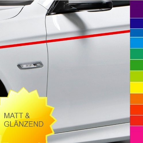 Preisvergleich Produktbild 10 m Auto Motorrad Zierstreifen 5 mm breit - rot glänzend ~RAL 3000 - von Luminess - Made in Germany