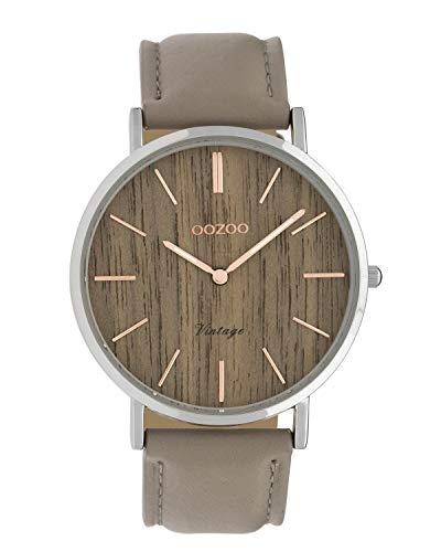 Oozoo Vintage Damenuhr Lederband Wood 40 MM Braun Holz/Taupe C9867