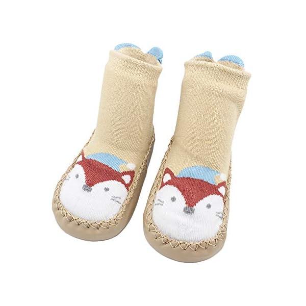 MAYOGO Calcetines Zapatos Antideslizantes para Bebé Calcetines Largos Antideslizantes Estampado Animal para Niñas… 5
