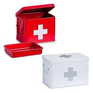 Zeller 18115 Medizin-Box, Metall, ca. 21,5 x 16 x 16 cm, rot