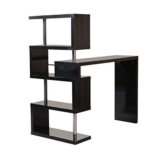 Homcom moderna scrivania porta pc tavolo per computer con scaffale ripiano nero