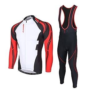 SKYSPER Moda Set Completo Abbigliamento Ciclismo da Uomo Maglia con Lunghe Maniche Tuta + Pantaloni Lunghi di Ciclismo…
