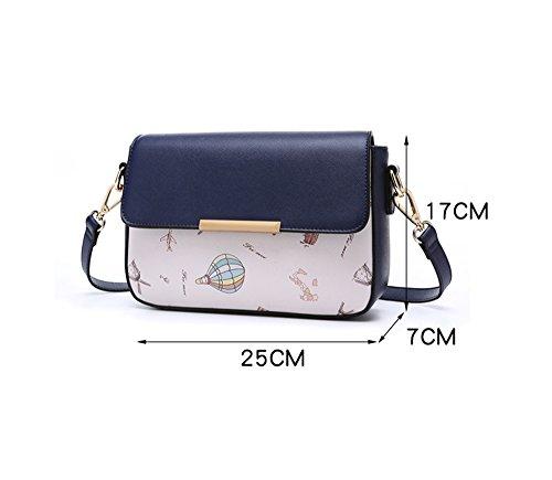 Versione coreana di moda personalizzata del pacchetto di marea, borsa a tracolla, zaino obliquo, borsa a quadretti degli studenti selvatici ( Colore : White+dark blue ) Bianca