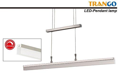 Trango Design LED Pendelleuchte, Esstischleuchte höhenverstellbar - Edelstahl-Look (Edelstahl-Look-TG2014-012A)