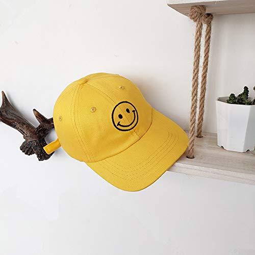 Frauen Kostüm Revolverheld - Hut männer und Frauen Baby Kinder lächeln Gesicht Stickerei baseballmütze hip hop Hut Paar Wilde Sonne Hut gelb 50-54 cm