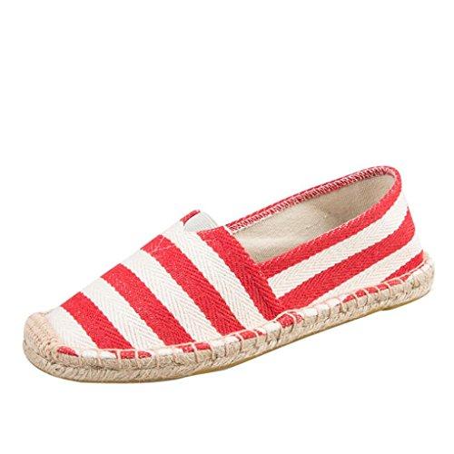 Herren Damen Hausschuhe,Absolute Wandernschuhe Sneaker Unisex Turnschuhe Mode Männer Frauen Bequeme Schuhe Gestreifte Freizeitschuhe Baumwolle und Leinen Schuhe (41 EU, Rot)