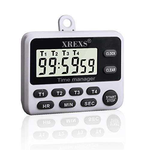 Digitaler Küchentimer Kochen Timer Küchenuhr - XREXS Count Down Up Timer mit Wecker Stoppuhr mit großen LCD Display und Befestigungsmagnet (Batterie enthalten)