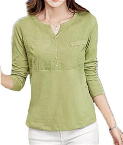 BESTHOO T-shirt à Manches Longues à col en V Pour Femme Basique Bouton Chemises Tops Grass Green